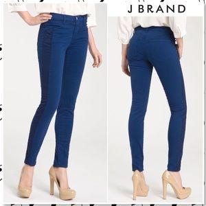 J Brand Kinsey Tuxedo Stripe Skinny Jeans Cobalt
